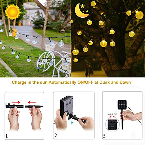 TuoPuLife Solar String Lights Outdoor, 21.3ft 30 LED Crystal Balls Waterproof Globe Solar Powered Fairy String Lights for Christmas Garden Yard Home Patio Wedding Party Holiday Decoration