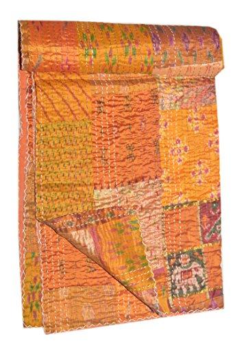 Sophia-Art Ikat-Seiden-Überwurf, handgefertigt, Kantha-Quilt-Überwurf, GUDARI-Twin-Single