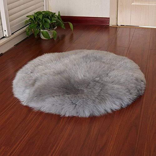 KAIHONG Spitzenqualität Lammfellimitat Teppich, 60 x 60 cm Lammfellimitat Teppich Longhair Fell Optik Nachahmung Wolle Bettvorleger Sofa Matte (Rund grau, 60 x 60 cm)