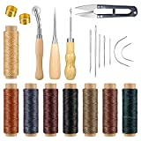 21 Pieces Leather Craft Sewing Tools, Includes Sewing Needles, Scissor, Upholstery Thread Cord, Stitching Awl,...