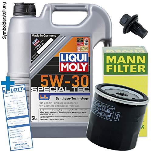 Ölwechsel Set Inspektion 5L Liqui Moly Special Tec LL 5W-30 Öl Motoröl + MANN Filter + Öl Ablassschraube Verschlussschraube