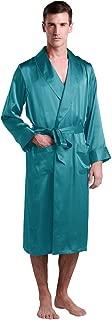 Men's Silk Robe Long Tea Length Lapel Collar 22 Momme 100 Pure Silk Long Sleeve with Pockets
