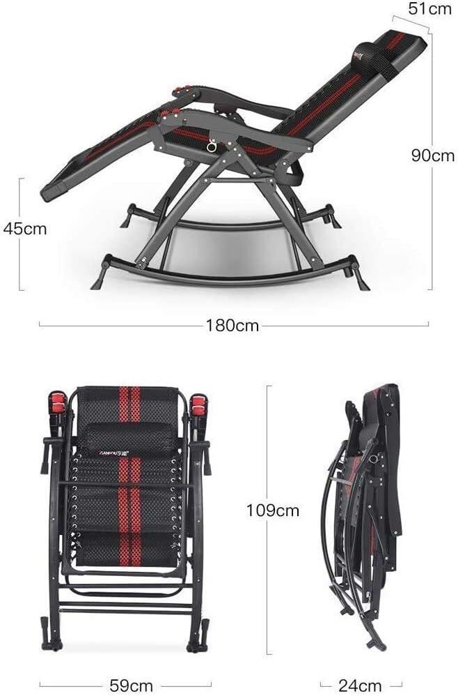 BATOWE Outdoor Reclining Zero Gravity Chaise Salon Balcon Nap Chaise Loisirs Fauteuil Dossier intérieur et extérieur Rocking Chair (Color : A) A