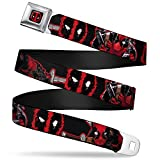 Buckle-Down Seatbelt Belt - Deadpool 2-Action Poses/Splatter Logo Black/Red/White - 1.0' Wide - 20-36 Inches in Length