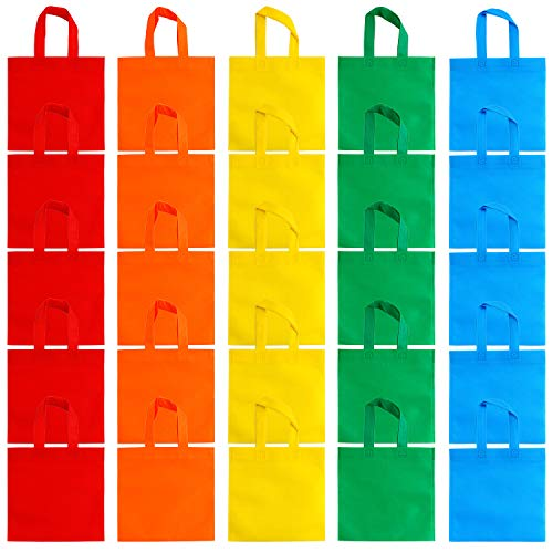 Aneco 25 Pack 9.5 x 9.5 Inch Non-Woven Tote Bags Party Gift Bag Goodie Treat Bags with Handles Party Favor, 5 Colors