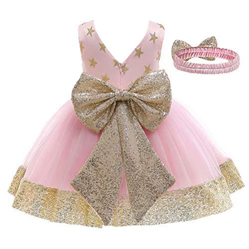 Vestido de Bautizo + Diadema Recién Nacido Bebés sin Mangas Verano Transpirable Traje de Ceremonia Boda para Niñas Vestido de Princesa Elegante con Lazos Cumpleaños (Rosa Estrella, 1-2 Años)
