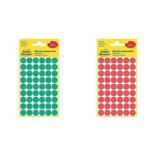 AVERY Zweckform 3143 Markierungspunkte (Etiketten, Ø 12 mm, 270 Stück) grün + AVERY Zweckform 3141 Markierungspunkte (270 Stück, Ø 12 mm) 5 Blatt rot