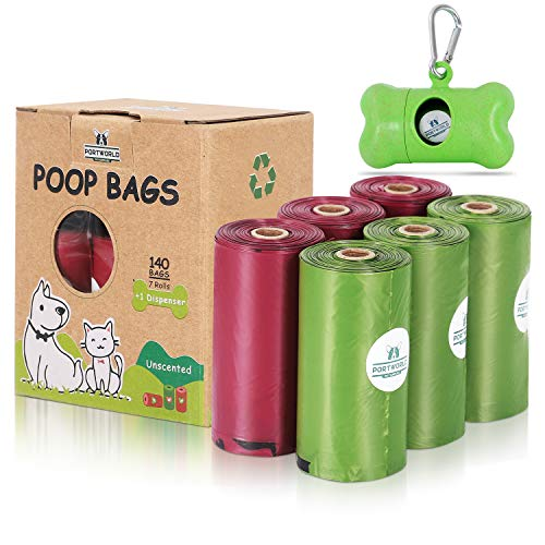Biodegradable Dog Poop Bags | Pet Waste Bags 7 Rolls 140 Counts with Dispenser for Doggy EcoFriendly Leak Proof Disposal Refill Bags
