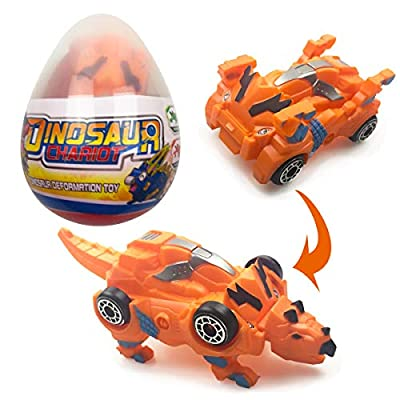Jofan Dinosaur Deformation Car Toy in Easter Eggs with Take Apart Toy Inside for Kids Boys Girls Easter Basket Stuffers Fillers Gifts (Triceratops)