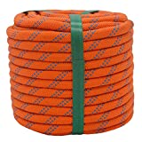 YUZENET Braided Polyester Arborist Rigging Rope (3/8' X 100') Strong Pulling Rope for Climbing Sailing Camping Swings, Orange/Blue