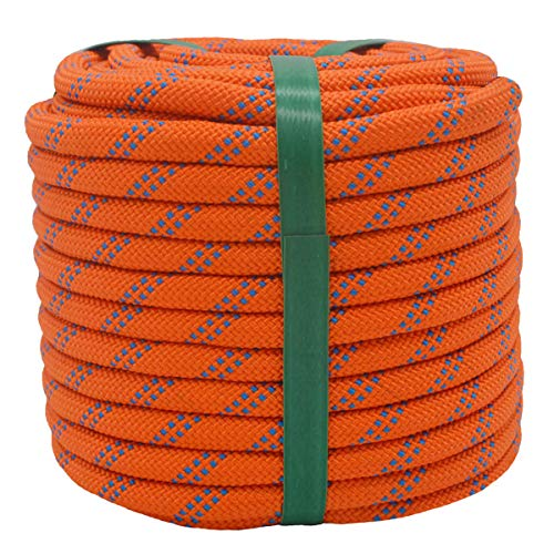 "YUZENET Braided Polyester Arborist Rigging Rope (3/8"" X 100') Strong Pulling Rope for Climbing Sailing Camping Swings, Orange/Blue"