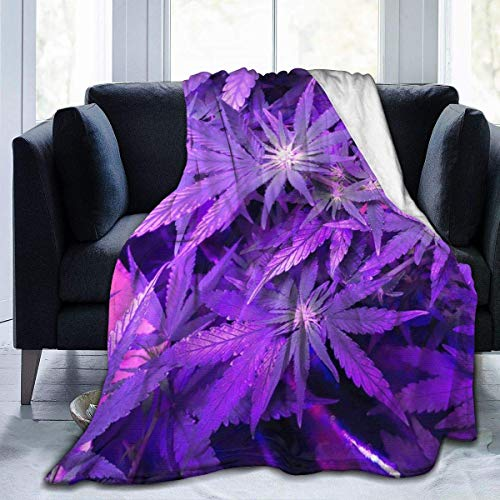 Hoswee Kuscheldecken,Überwürfe Ultra-Soft Micro Fleecedecke Purple Cannabis Leaf Decke Warm Blanket Decke Ultra Soft Bed Blanket for Couch Travel Chair - All Season Premium Bed Blanket 60 X 50 Inches