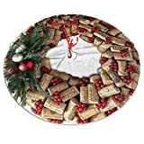 """SXKKoin 36"""" Traditional Holiday Christmas Tree Skirt with Wine Cork Wreath with Evergreen Design"""
