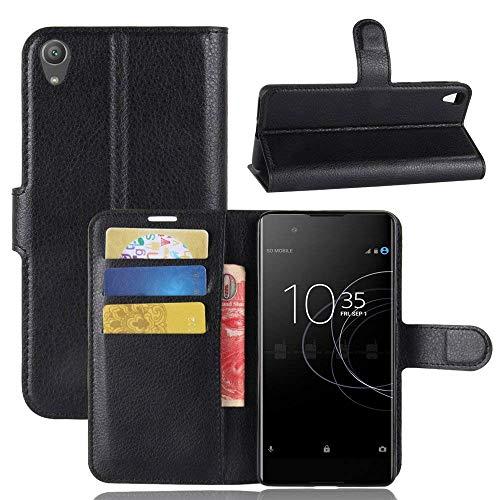 """Capa Capinha Carteira Case 360 Para Sony Xperia Xa1 Plus Tela 5.5"""" Couro Sintético Flip Wallet Para Cartão - Danet (Preta)"""
