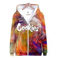 ユニセックスパーカー、クッキーカラフルなパターンプリントスウェットシャツ、個性ジッパーのundwear,Multi colored,Large