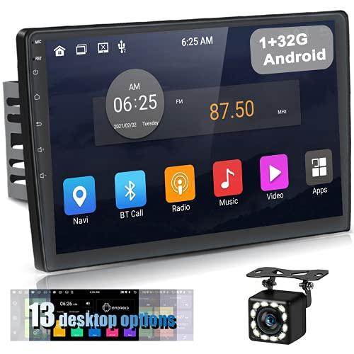 [1+32G] Podofo 10,1 Pollici Android Doppio Din Autoradio, Touchscreen Autoradio con Navigatore GPS e Bluetooth WiFi Fotocamera di Backup FM RDS SWC +13 Desktop Tematico
