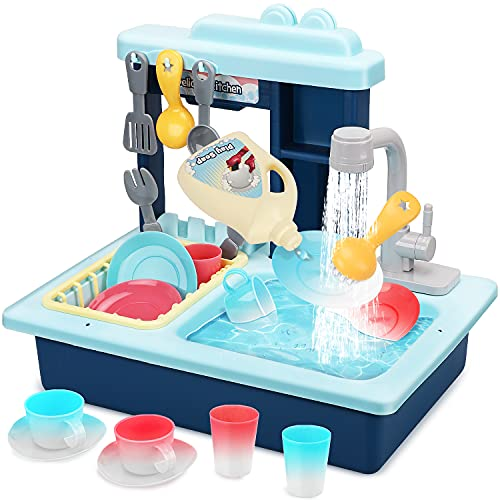 STEAM Life - Toddler Sink - Kitchen Toy - Play Sink Toy - Color Changing Toy Dishes - Play Sink with Running Water - Pretend Play for Toddlers - Toddler Sink Toy for Kids (Blue)