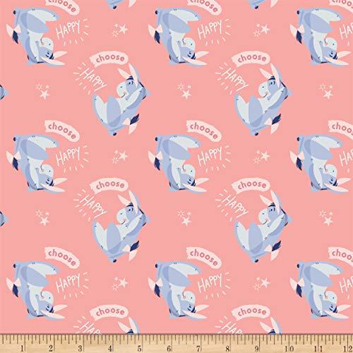 Eugene Textiles Disney Winnie The Pooh Eeyore Choose Happy Fabric, Pink