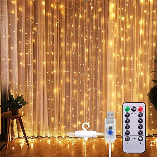 Cadena de luces LED de 300 luces, de 9.8 x 9.8 pies con 8 modos y cadena de luces con mando a distancia USB para decoración de pared, para interiores y exteriores, fiesta de Navidad (blanco cálido)