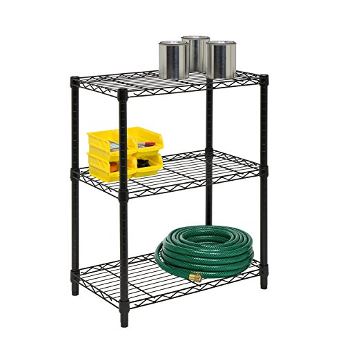 Honey-Can-Do 3-Tier Heavy Duty Adjustable Shelving Unit, Black