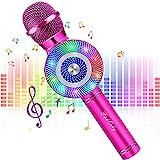 Micrófono Karaoke Bluetooth, FISHOAKY 4 en1 Microfono Inalámbrico Altavoces con Luces LED, Portátil Karaoke para Niños Cantar, Función de Eco, Compatible con Android/iOS Teléfono