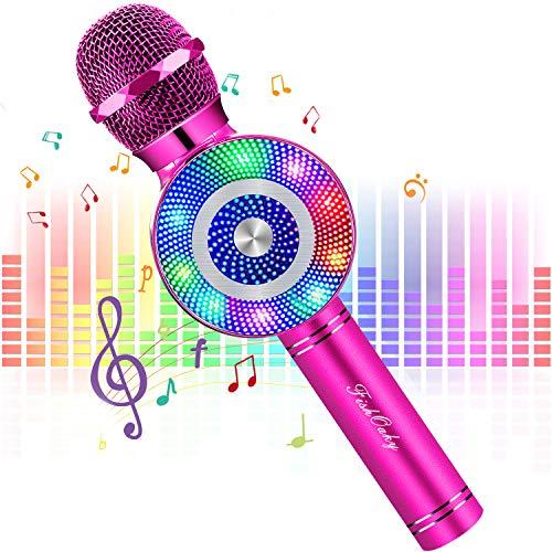 FISHOAKY Microfono Karaoke Bluetooth, 4 in 1 Wireless Microfono Bambini con LED Lampada Flash, Portatile Karaoke Player con Altoparlante per Cantare,Compatibile con Android iOS Smartphone e PC