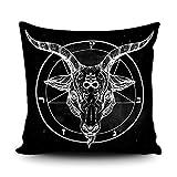 SVITFAMLI Throw Pillow Cover Pentagram with Demon Baphomet Satanic Goat Head Binary Symbol Tattoo Retro Music Summer for Biker Black Decorative Pillow Case Home Decor Square 18 x 18 Inch Pillowcase