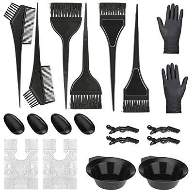 BestFire Hair Coloring Tool Set, 24Pcs Hair Dye Tools Coloring DIY Beauty Salon Tool Kit, Hair Coloring Brush and Bowl Kit, Gloves, Ear Cover, Mixing Spoon, Hair Clips Black Hairdressing Tool