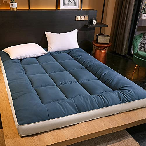 MWEWQT ColchóN FutóN Tatami JaponéS de Cachemira,Almohada para Dormir Antideslizante,ColchóN Cama Plegable,Tapete Suave Transpirable, Almohadilla para Dormir (Color : Blue, Size : 120 * 200cm)