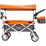 Creative Outdoor Push Pull Collapsible Folding Wagon Stroller Cart for Kids   Silver Series Plus   Beach Park Garden & Tailgate   Orange with Canopy …