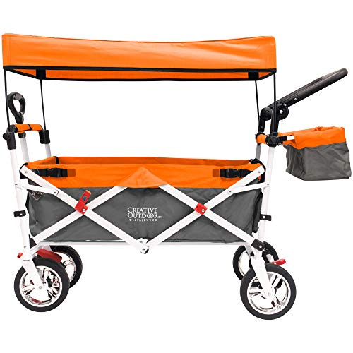 Creative Outdoor Push Pull Collapsible Folding Wagon Cart | Silver Series Plus |...