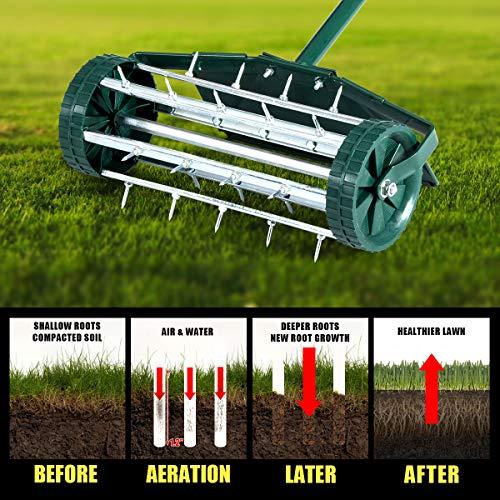 Rolling Lawn Aerator 18-inch Garden Yard Rotary Push Tine Heavy Duty Spike Soil Aeration, 40.5-in Handle (Green w/Fender)