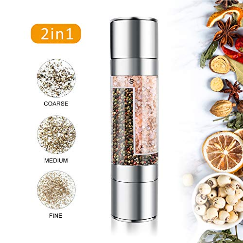Mixoo Salt and Pepper Grinder - 2 in 1 Manual Stainless Steel Salt Pepper Mill Herb Spice Grinder Shakers Refillable with Adjustable Coarseness Ceramic Rotor and Dual Clear Acrylic Chamber