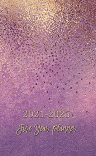 2021-2025 Five Year Planner: Pocket Monthly calendar for 5 years schedule and small organizer, Personal time management purse notebook with golden purple cover