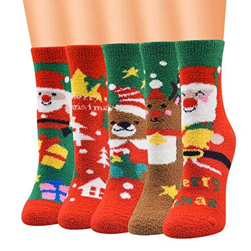 5 Pairs Womens Fuzzy Fluffy Christmas Socks Warm Winter Cozy Soft Crew Socks Slipper Home Sleeping Cute Animal Socks