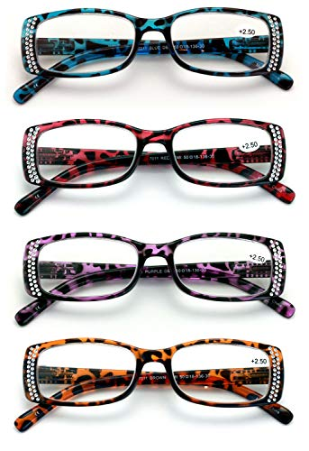4 Pairs of Women Rectangular Rhinestones Reading Glasses - Fashion Leopard Clear Lens Readers Demi Tortoise (4 Assorted, 2.50)