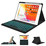 iPad Keyboard Case 10.2 7th Generation 2019 - Soft TPU Protective Stand Cover with Detachable Backlit Wireless BT Keyboard - Built-in Pencil Holder - Auto Sleep/Wake Case for iPad 10.2' 2019 (Black)