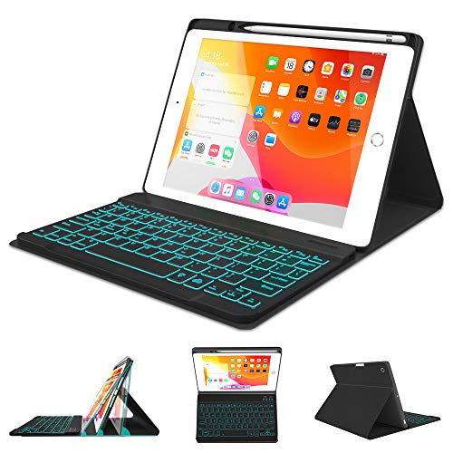 "iPad Keyboard Case 10.2 8th 7th Generation 2020/2019 - Pro 10.5 Air 3rd Gen 2019/2017 - Detachable Backlit Wireless BT Keyboard - Built-in Pencil Holder - Auto Sleep/Wake Case for iPad 10.2""/10.5"""