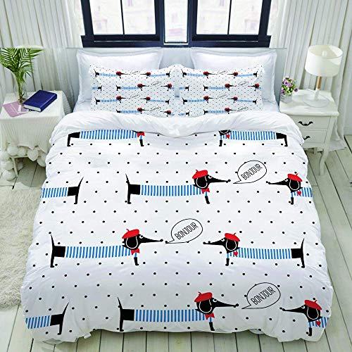 Copripiumino, stile francese cani dicendo Bonjour Seamless Pattern su sfondo a pois, set di biancheria da letto Set di copripiumini di lusso ultra leggero e confortevole