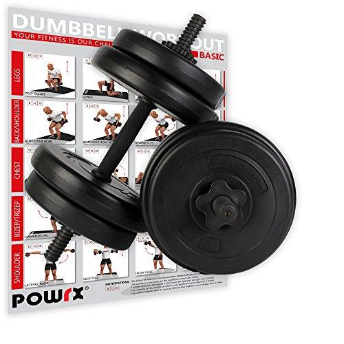 POWRX Kurzhantel (Paar) | 2er Set 20kg 30kg 40kg | Rutschsichere, gerändelte Griffe | Hantelset mit Sternverschluss (2 x 10 kg)