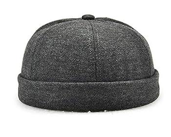 Unique Street Casual Solid Dark Grey Cotton Brim-Less Strap-Back Cap