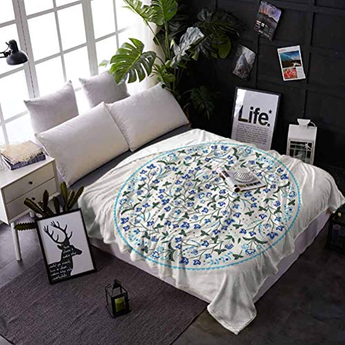 shirlyhome Soft Bed Blanket Throw Jacobean Living Room Couch Blanket Round Frame Floral Stems Best Gift for Women, Men, Kid, Teen 50x60 Inch