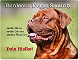 Merchandise for Fans Warnschild - Schild aus Aluminium 20x30cm - Motiv: Bordeaux Dogge Security (01)