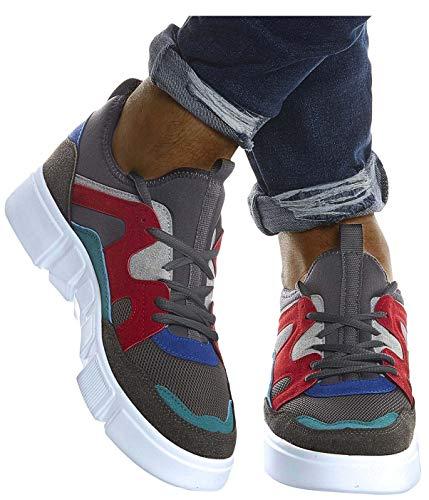 Leif Nelson Herren Schuhe für Freizeit Sport Freizeitschuhe Männer weiße Sneaker Sommer Coole Sommerschuhe Sportschuhe Weiße Schuhe für Jungen Winterschuhe Halbschuhe LN203;40, Anthrazit-Rot