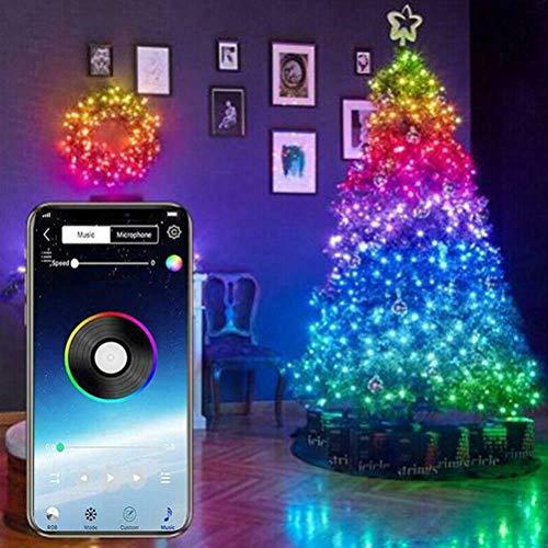 Luces de hadas LED, 20m 200LED Luces de árbol de Navidad decorativas, bombilla inteligente programable por Bluetooth control de aplicación IP65 luces de tira LED, bombillas inteligentes programables