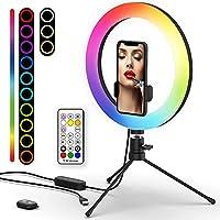 26 RGB-Modi und 3 normale Farbmodi - 2020 Das neueste Ringlicht bietet Ihnen die Modi Warm, Weiß, Tageslicht und 26 RGB-Modi zur Auswahl und stellt sicher, dass Sie für verschiedene Umstände immer die richtige Lichtfarbe erhalten. Perfekt für Innen- ...