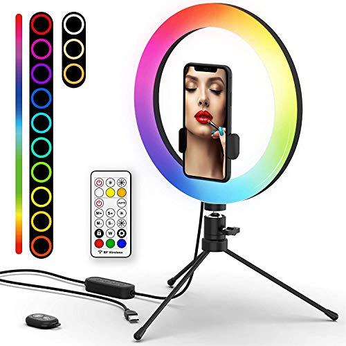 Anillo de luz LED de 10 pulgadas con trípode, luz de anillo RGB con soporte móvil y mando a distancia Bluetooth, luz de anillo con 7 26 colores RGB regulables, 9 niveles de brillo y 3 modos de luz.