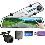 GPS 12 inch Mirror Dash Cam Backup Camera Full Touch Screen Video Streaming Mirror Camera 2K Front and 1080P Rear View Camera 32GB SD Card Included 1 Year Warranty mysmile