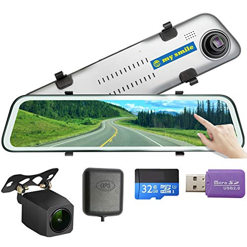 GPS 12 inch Mirror Dash Cam Backup Camera Full Touch Screen Video Streaming Mirror Camera 2K Front and 1080P Rear View Camera 32GB SD Card Included 1 Year Warranty mysmile Audio car In-Mirror Video
