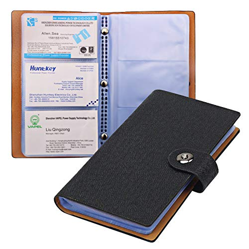 Tenn Well Business Card Holder Book, Durable Business Card Folder with Magnetic Closure for 300 Business Cards, Credit Cards or Membership Cards, Black